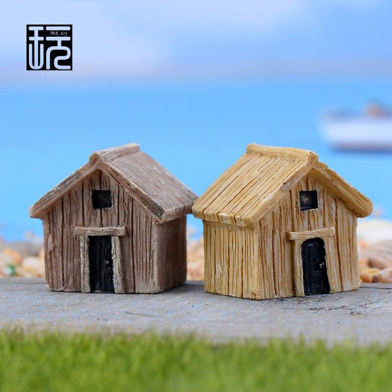 Zakka Resin Mini Chalet Huts Model House Ornament Crafts DIY Fairy Garden Miniatures Succulents/ Micro Moss Landscape Decoration