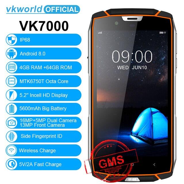 """Vkworld VK7000 водонепроницаемый смартфон с IP68 5,2 """"в ячейке mtk6750t восемь ядер Android 8,0 5600 мАч Быстрая зарядка 5 В/2A 4 ГБ Оперативная память 64 ГБ Встроенная память"""
