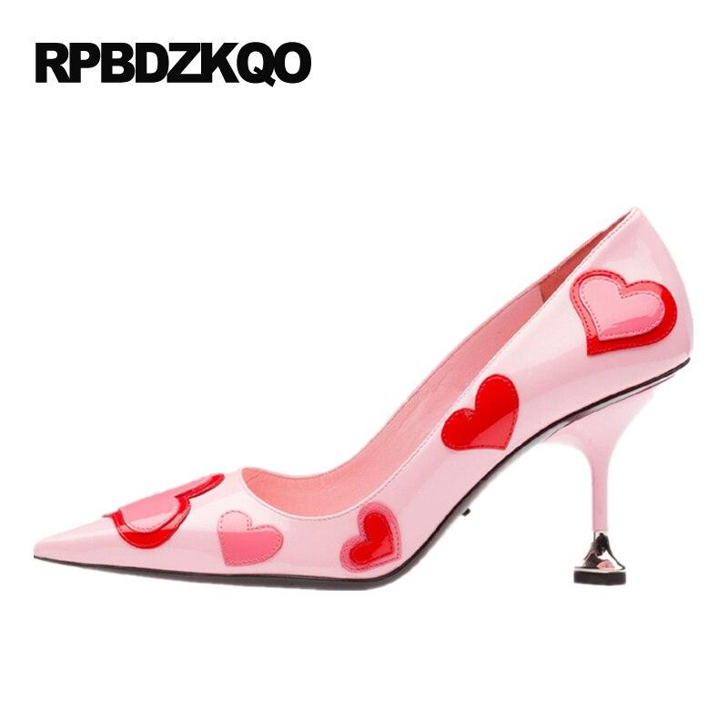 купить Kitten 9 40 2017 Big Size Heart Chic Pink Shoes Women Colourful Pumps Pointed Toe Kawaii High Heels Pull On Pretty Sweet Pumps недорого