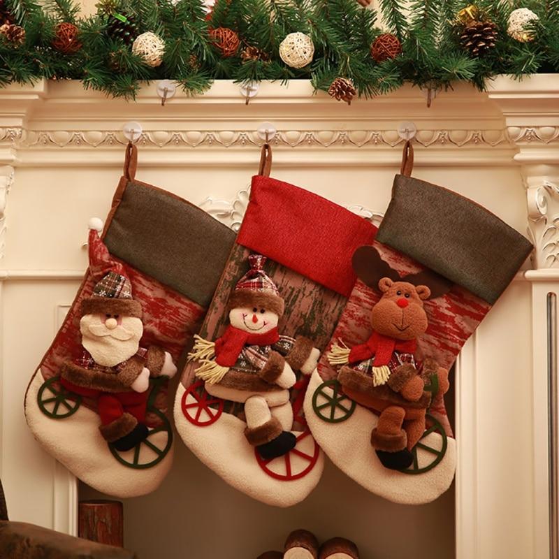 Vintage Christmas Stockings.Vintage Christmas Stocking Xmas Santa Claus Snowman Sock