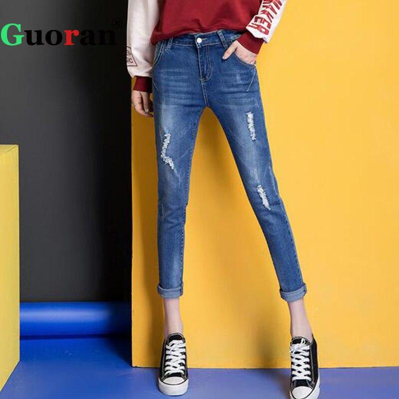 {Guoran} Ankle Length Women Jeans Trousers 2017 Summer Femme Ripped Jeans Pants Denim Blue Pantalon Plus Size 32 Jeans Leggings guoran 2017 summer women jeans pencil pants denim blue jeans trousers ankle length high waist plus size 26 33 femme pantalon