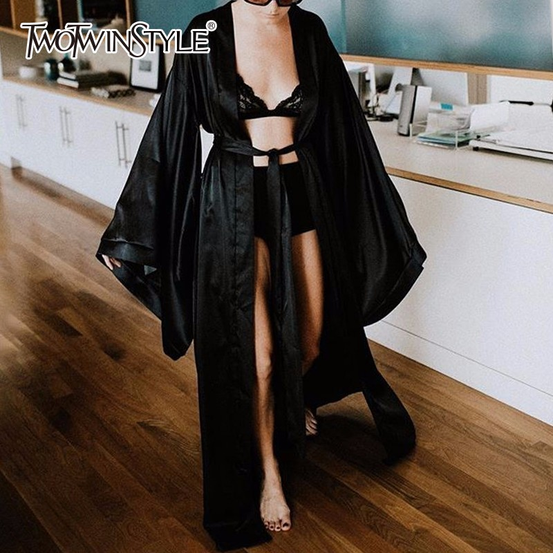 TWOTWINSTYLE Summer Satin Robe Dresses Women V Neck Batwing Sleeve Maxi Dress Female Lace Up Oversize