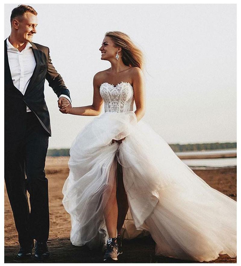 SoDigne Beach Lace Strapless Informal Wedding Dresses 2019  Sleeveless Bride Dress Lace Up Back White/Lvory Wedding Gowns