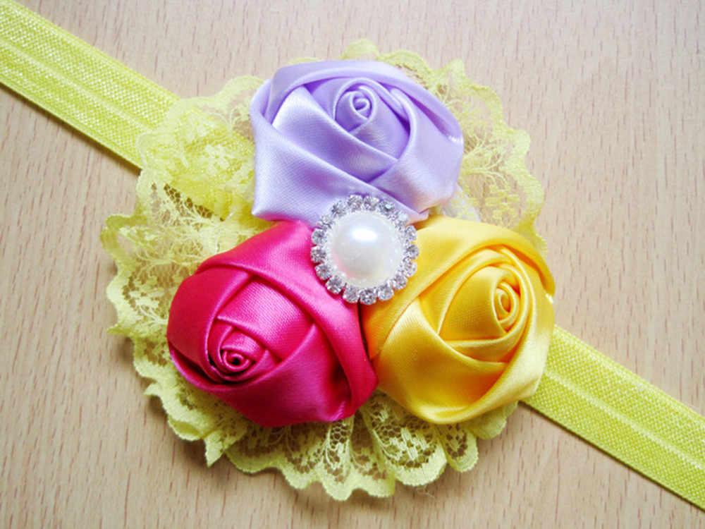 Детская эластичная Цветочная розовая Кружевная повязка на голову для девочек, повязка для волос для маленькой принцессы, милые аксессуары для волос, ленты для волос для девочек 2018
