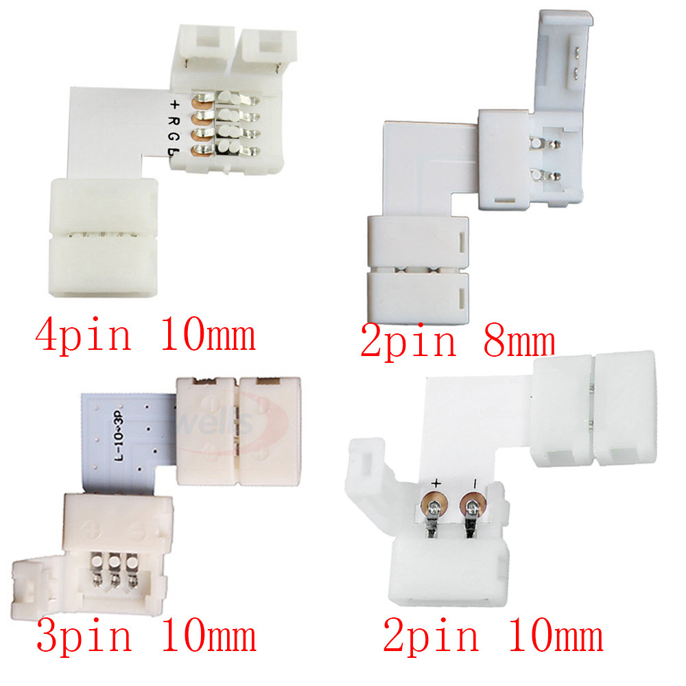 Best pricel 2pin 3pin 4 pin 8mm 10mm L Shape LED Connector For connecting corner right angle 3528 2811 2812 5050 RGB LED Strip led connector 2 pin 3 pin 4 pin solderless for 8mm 10mm 5050 3528 ws2811 ws2812b 5630 5730 smd led strip 5pcs lot