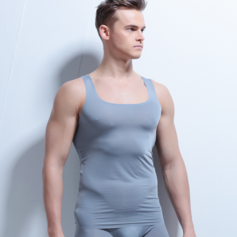 New Mens Seamless Vest Mens Sleeveless T-Shirt Slim Shirt Wide Shoulder undershirt men singlet mens silk undershirts plus size