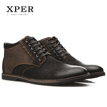 xper  autumn winter men shoes boots casual fashion high-cut lace-up warm hombre #ym86901bu