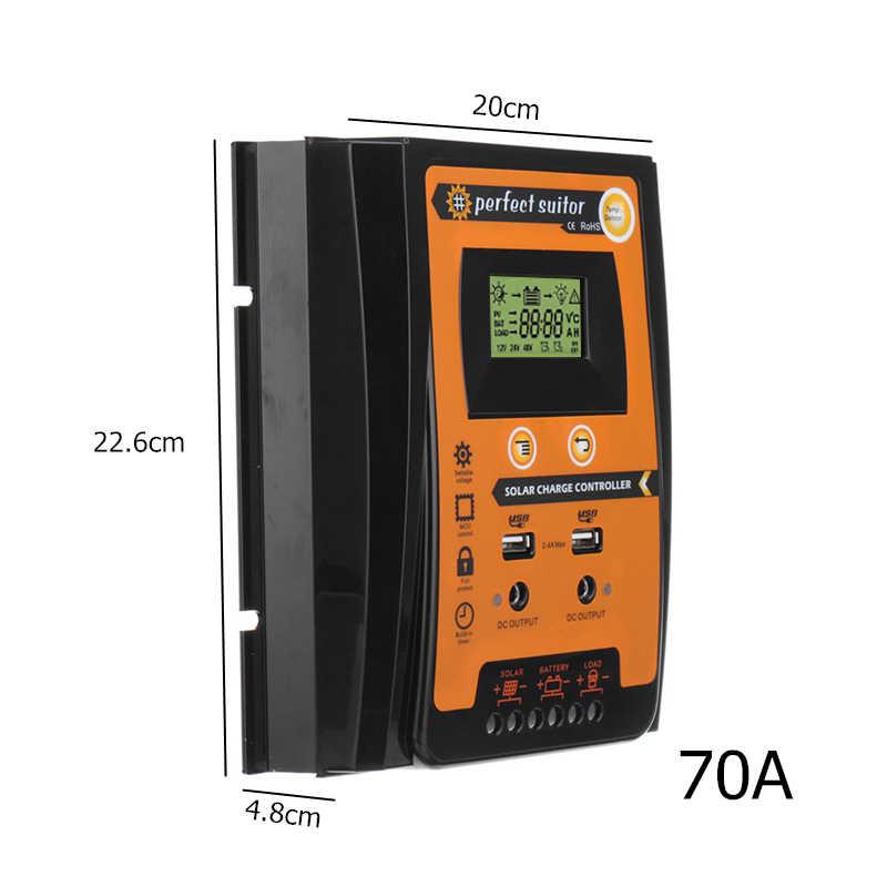 كفاءة 30A 50A 70A الشمسية جهاز التحكم في الشحن 12 فولت 24 فولت السيارات PWM LCD المزدوج USB ألواح خلايا شمسية منظم شاحن بطارية المنزل