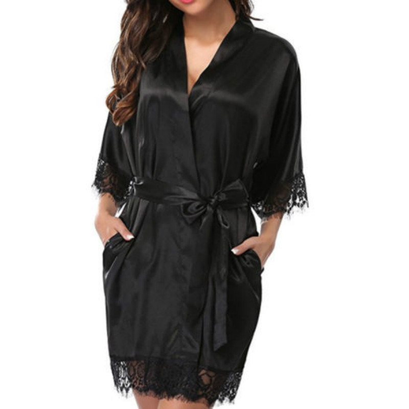 2018 Women Sexy Nightdress Satin Lace Kimono Sleepwear Lingerie Dress Gown Robe Kits