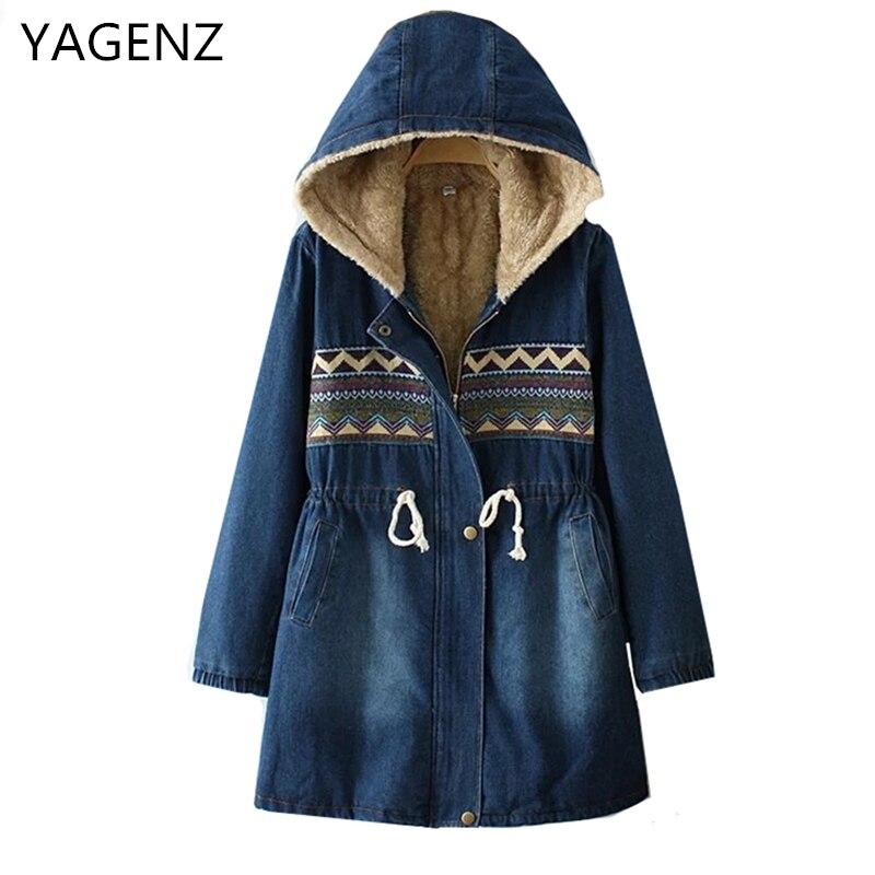 YAGENZ New Women Denim Jacket 2019 Autumn Winter Loose Plus Cotton Warm Female Casual Tops Vintage