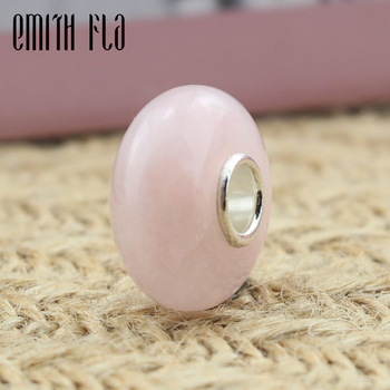 цена на Pink Natural Crystal Beads Charms With Authentic 925 Sterling Silver Fit European Charm Bracelet Round Beads Silver Jewelry Gift