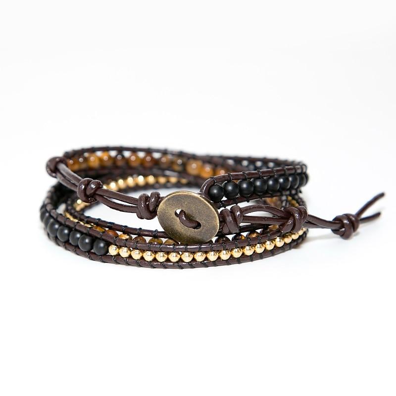 Unique Mixed Triple Simple Leather Beaded Bracelet,Tiger Eye,Copper,Black Beaded Beaded Bracelet Friendship Bracelets Jewelry