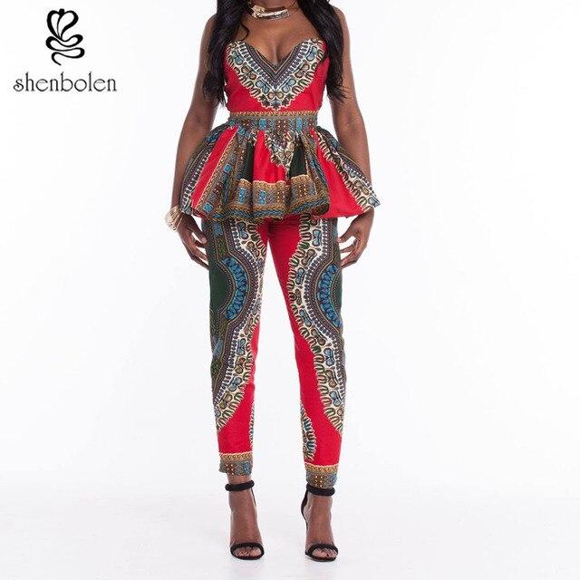 Африканская Одежда 2016 летом Анкара dashiki китенге воск батик печати рукавов 2 шт. без бретелек топ + длинные брюки Набор женщин