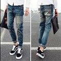 Azul oscuro slim Fit hombres Jeans Hip Hop impresión pantalones encuadre de cuerpo entero Hiphop pantalones de skate pantalones vaqueros largos ocasionales de gran tamaño 28-34