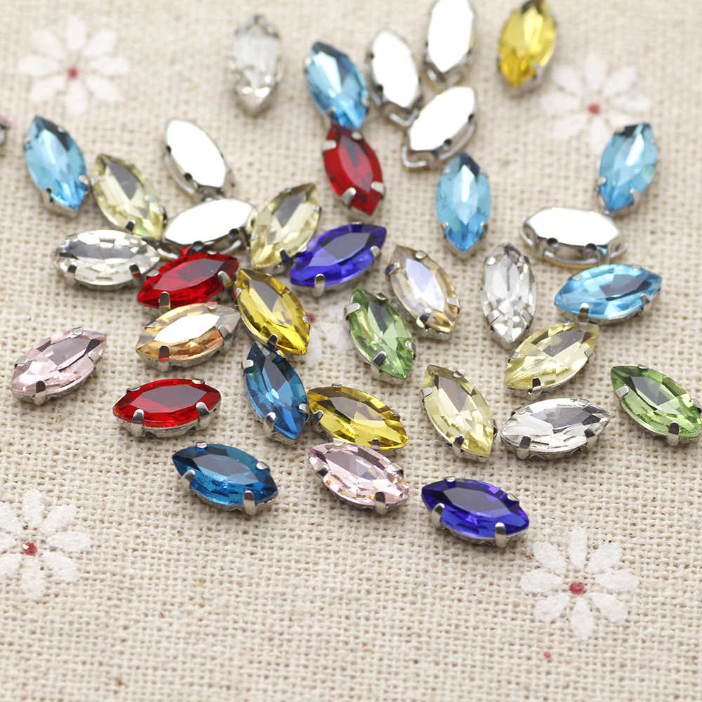 100pcs 4x8mm Mini Size Mix Color Navette Sew On Rhinestone With Claw  Setting Silver Back Fancy 21055d023882