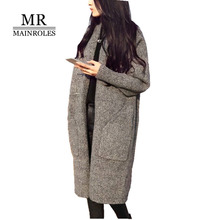 Фотография MAINROLES Women Knitted Long Sweaters 2017 Ladies cardigans Solid Full Casual Sweater Women Thick  Women Cardigans Coat Femme