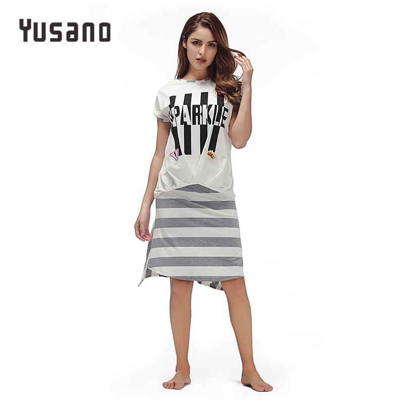 Yusano Sleep Dress Sexy Nightwear Women T-shirt Top Mini Skirt Cotton Stripe Letter Print Sleepwear Bathrobe Female Nightie