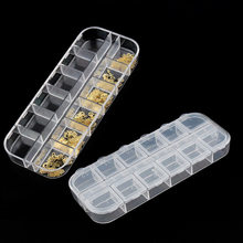 Clear Empty 12 Slots Clear Divided Storage Box Jewerly Nail Art Tips Rhinestone Small Beads Case Organizer Storage Box Container(China)