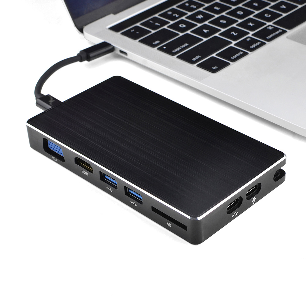 все цены на USB-C Docking Station 8 All in One Type C to HDMI VGA SD USB 3.0 RJ45 Network Adapter Hub With PD Charging For MacBook Samsung онлайн