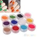 12 Colores Del Brillo Del Arte Esmalte de Uñas Del Gel de Acrílico Consejos de Uñas Polvo de Terciopelo 4BKJ