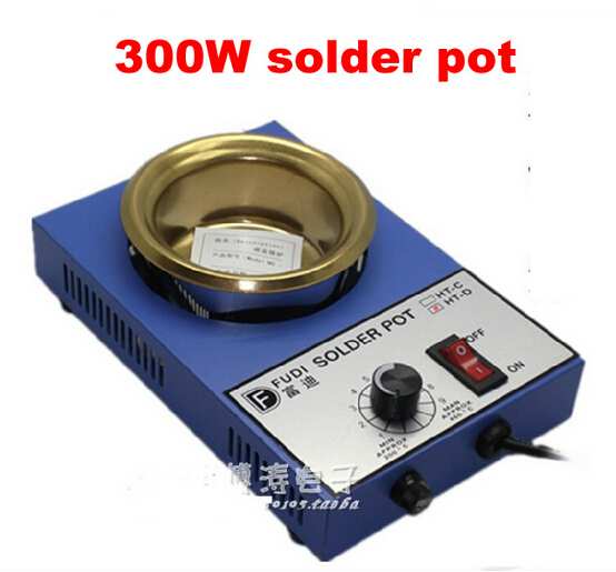 300W solder pot small mini tin melting furnace thermoregulation stainless steel 100mm 200 ~ 450 centigrade molten tin furnace welding melting furnace machine welder zb1510b dissolve tin dip solder stove for pcb soldering pot