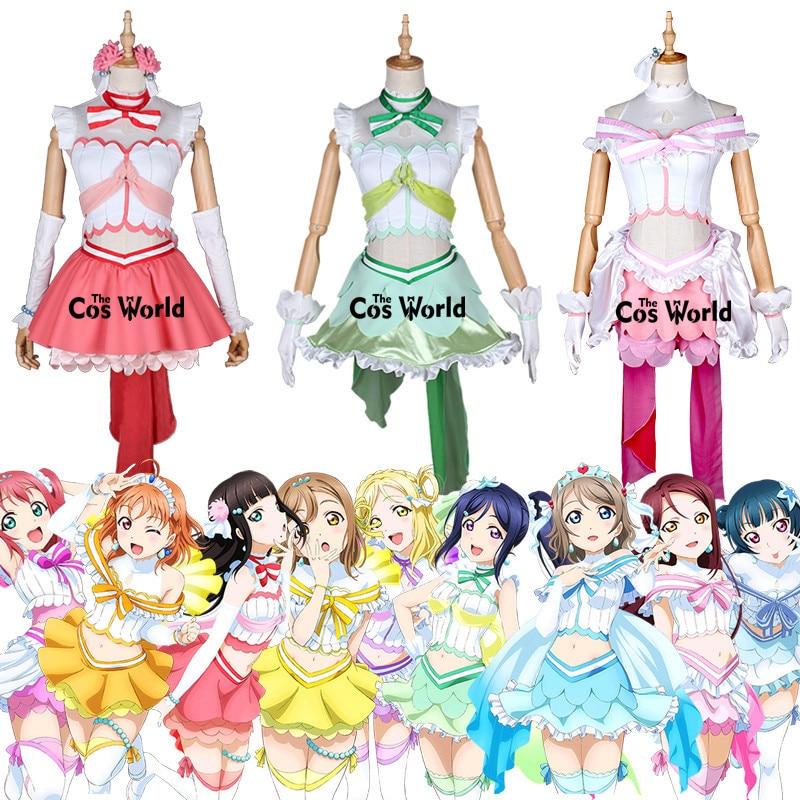 Love Live Sunshine Aqours Aquarium Fishtail 9 Characters Takami Chika Kurosawa Dia Ruby Riko Dress Uniform Cosplay Costumes