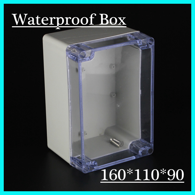 (1 piece/lot) 160*110*90mm Clear ABS Plastic IP65 Waterproof Enclosure PVC Junction Box Electronic Project Instrument Case waterproof abs plastic electronic box white case 6 size