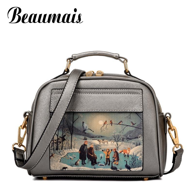 Beaumais Pu Leather Women Leather Handbag Famous Brand Women Messenger Bags Women Shoulder Bag Pouch Printing Female Bag DB5794