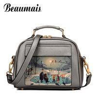 Beaumais puレザー女性レザーハンドバッグ有名なブランドの女