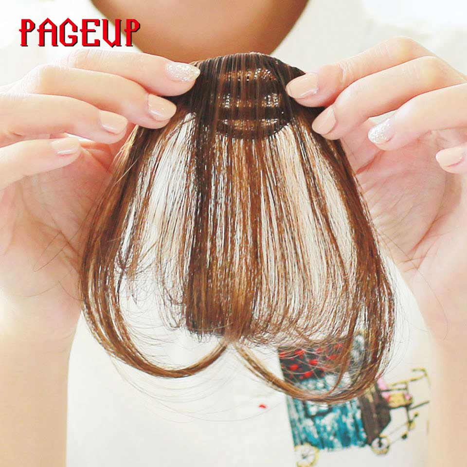 Pageup 6 Colors Synthetic Natural Front Bangs Hair pieces Clip In Fake Bangs For Women Clip In Hair Extensions Short Front Bangs (10)