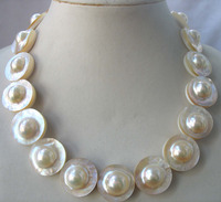 WOW! SOUTH SEA MABE PEARL WHITE necklace 18inch nature wholesale FPPJ