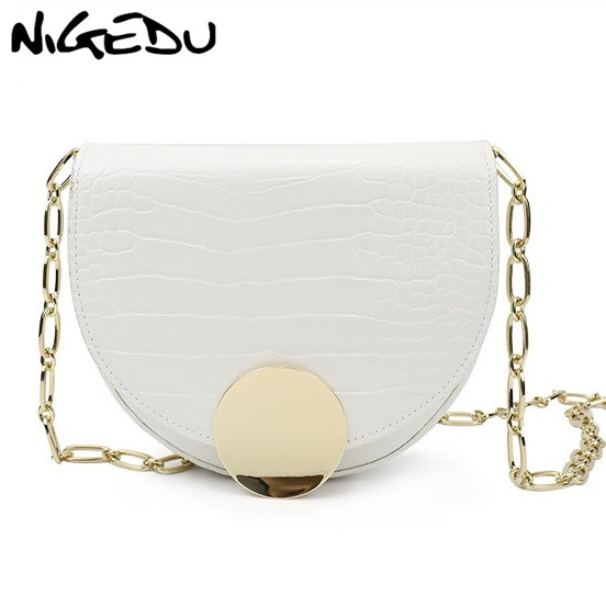 NIGEDU luxury women Shoulder bags designer Crocodile pattern semi-circle saddle bags chain messenger bag for female clutch purse