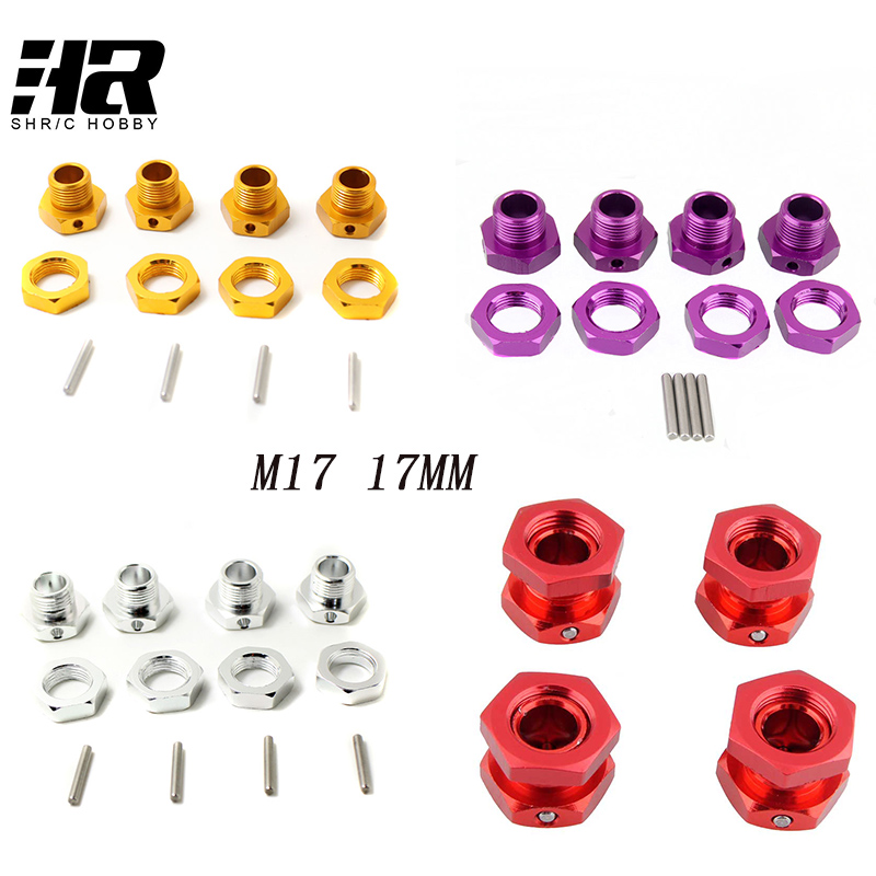 M17 17mm Aluminum Wheel Hex Hubs Adapter Nut Pin Anti Dust Cover For 1 8 RC