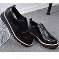 2017 New Bullock shoes female thick bottom black patent leather Loafers Flat casual shoes Women Shoes damski boty obuv huarche