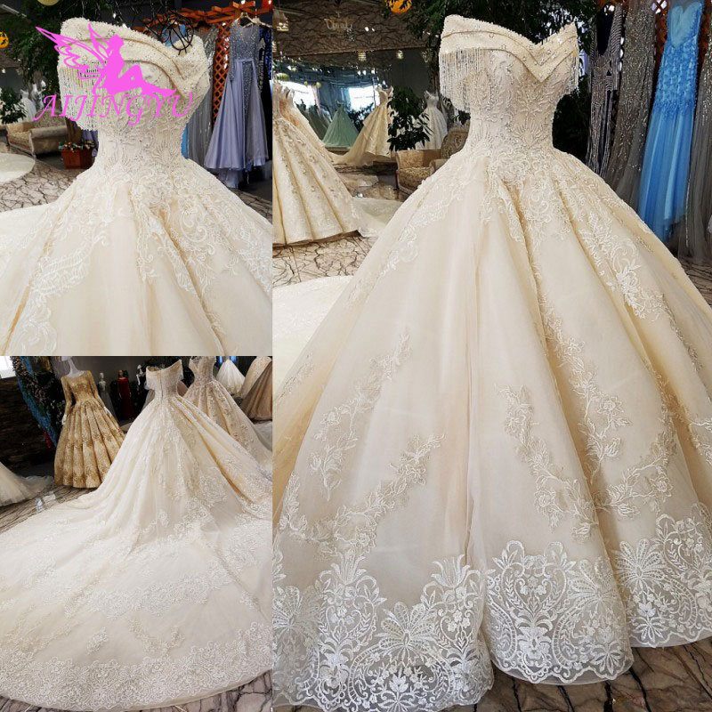 AIJINGYU Sequin Ball Gown Plus Size Bridal Gown Antique 2019 Sexy This Season'S Lace Top Civil Wedding Dress