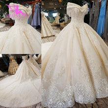 Aijingyuスパンコールボールプラスサイズの花嫁衣装アンティーク婚約セクシーなこのseasonsレーストップ市民のウェディングドレス