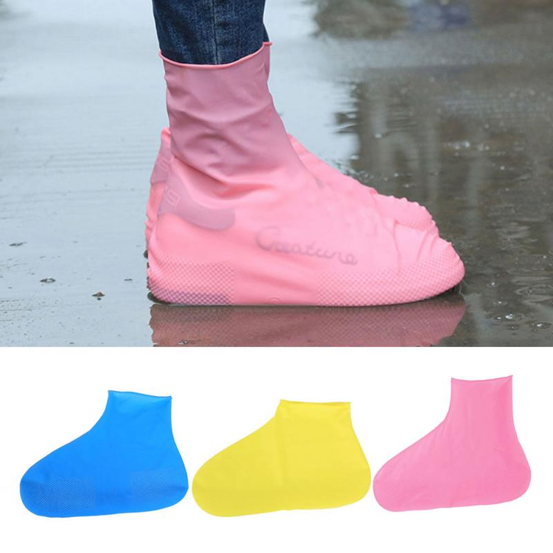 Rubber Waterproof Reusable Shoes Covers Anti-Slip Rain Boots Shoes Covers Women Men Outdoor Overshoes Boot Shoes Accessories