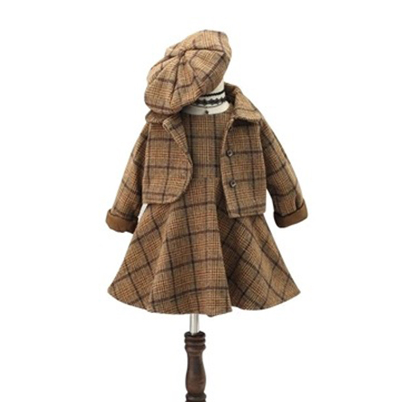 High Quality New 3 Pieces Baby Girls Clothing Set Plaid Coat + Tutu Ball Gown Dress+ Hat Autumn Winter Children Costume CC534 стоимость