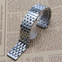 New arrival 2016 Silver Watchband 20mm 22mm Stainless Steel 7beads Watch Strap Butterfly Clasp High Quality watchband bracelet