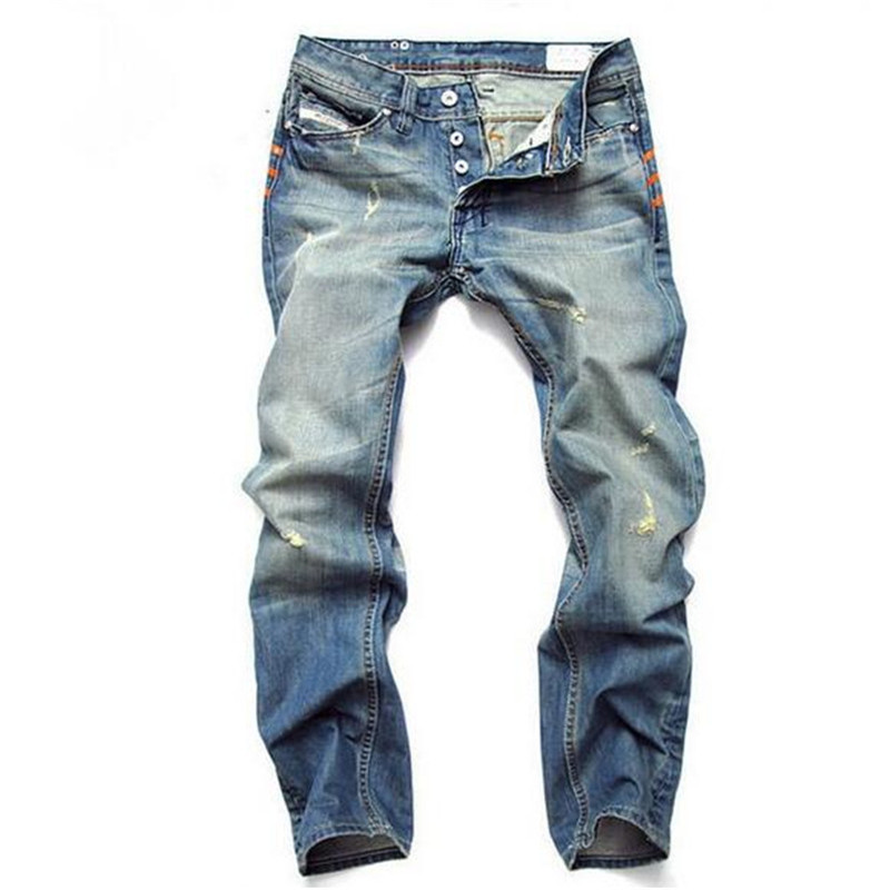 Light Blue Jeans Men Straight Denim Jeans Trousers  28-42 High Quality Cotton Logo Brand orange button Mens Jeans