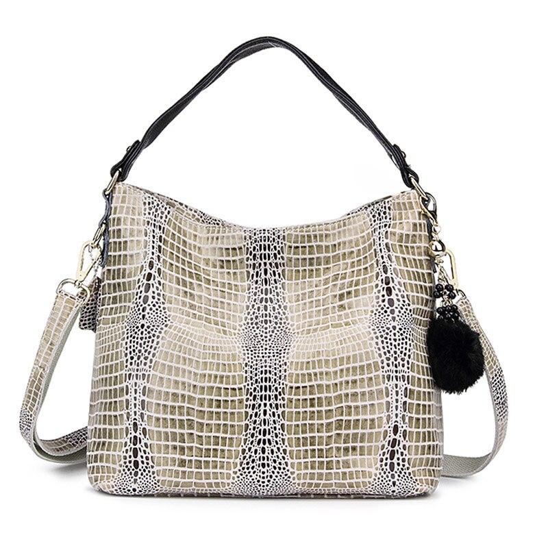 ФОТО Women Genuine Leather Crocodile Bags European and American Style Messenger Bags With Fur Ball Embossed Handbag Luxury Totes