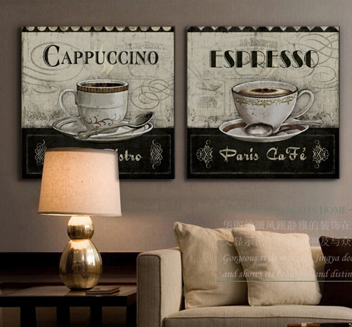 Buy cappuccino coffee cup canvas wall art for New home decor products