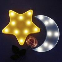 Approvisionnement de Fête d'anniversaire Belle 3D Lumière lampe Étoiles Lune Ensemble Nuit lumière LED Mignon Marquise Pour Bébé Enfants Chambre Décor Enfants