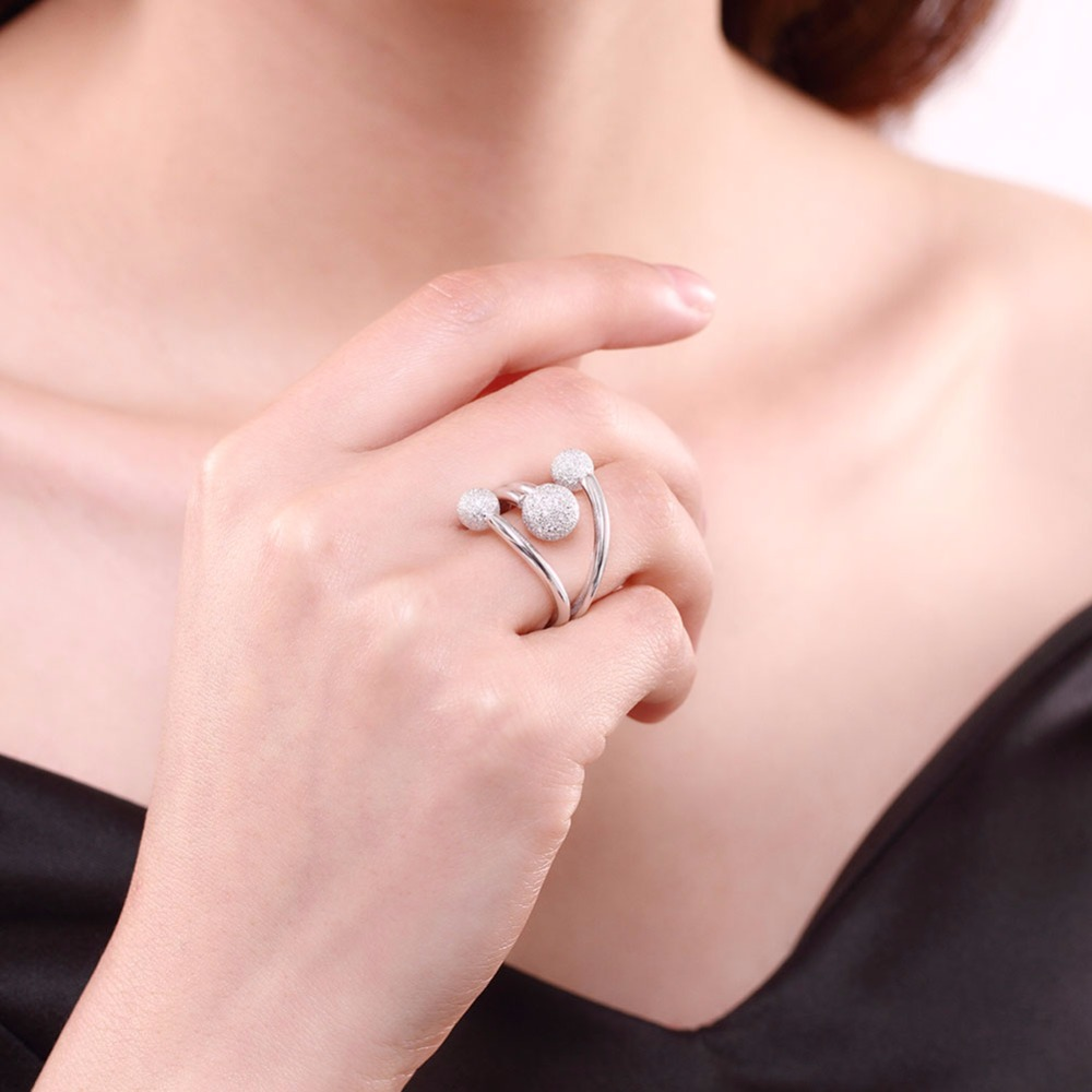 MEEKCAT 925 Sterling Silver Dull Polished Ball Rings For Women With ...