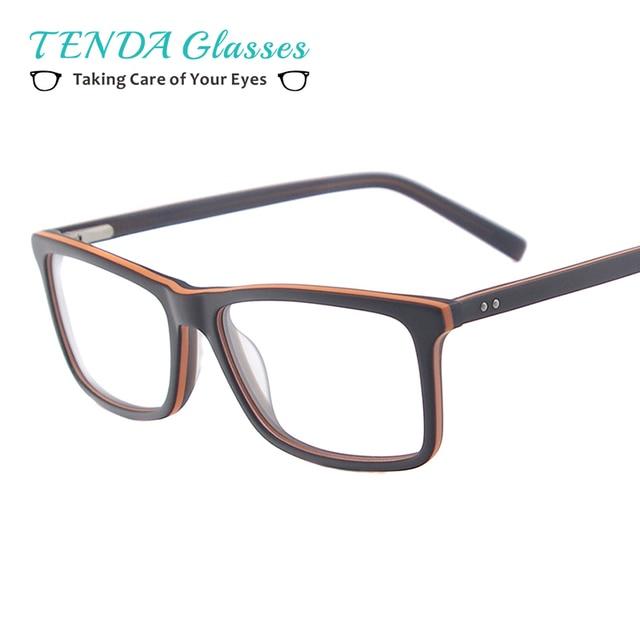 cb7f7ae3ae Hombres gafas de moda acetato Rectangular marcos de anteojos con bisagra de  resorte para lentes de