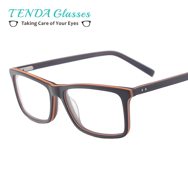 7b9aed69c55 Men Fashion Glasses Acetate Rectangular Eyeglass Frames With Spring Hinge  For Prescription Lenses Myopia Presbyopia Multifocal