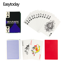 Easytoday 1Pcs/set PVC Waterproof Plastic Playing Poker Cards 2 Color Red and Blue Baccarat Texas Holdem Club
