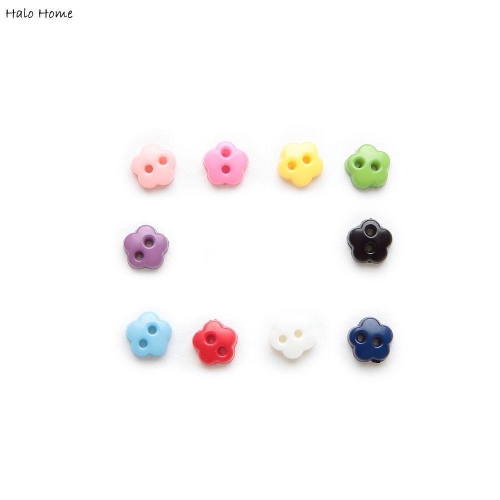 100 шт 6 мм Мульти Цвет один Цвет дополнительно 2 отверстия в форме цветка Резина Мини-кнопки для шитья скрапбукинга декор карты рукоделие сво...