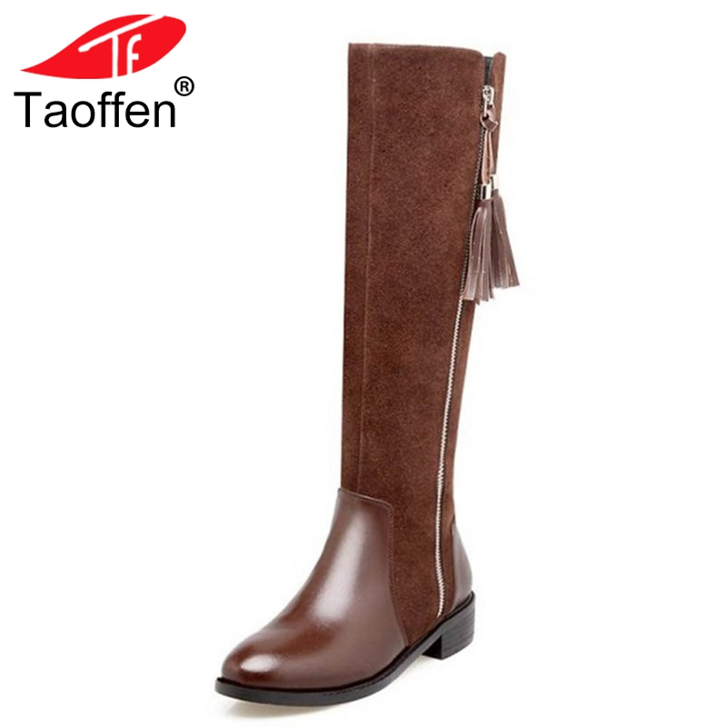 TAOFFEN Genuine Thick Fur Winter Women Boots Zipper Side Knee High With Warm Fur Real Natural Leather Boots Women Size 34-39 cambridge ielts 7 examination papers from the university of cambridge esol examinations english for speakers of other languages 2 audiocds