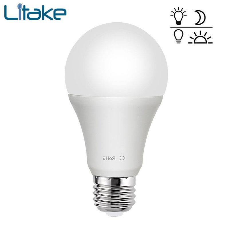 Litake 85-265V E27 LED Sensor Lamp Bulb Automatic Dusk to Dawn Auto ON/OFF Globe LED Light Bulb for Home Porch Hallway цена
